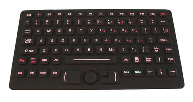 China Red Backlit Silicone Industrial Keyboard With Fsr Mouse , Emc Wide Temperature Keyboard supplier