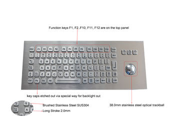 Panel Mounted Metal Rugged Keyboard With Backlit USB Optical Trackball