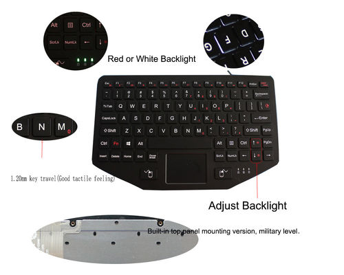 Robust ABS IP65 Mountable Industrial Keyboard With Touchpad Backlit