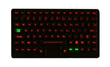 Small Silicone Red Backlit Industrial Keyboards Sealed Touchpad