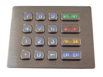 16 Keys IP67 Panel Mount Keypad Backlit Customized Stainless Steel Keypad
