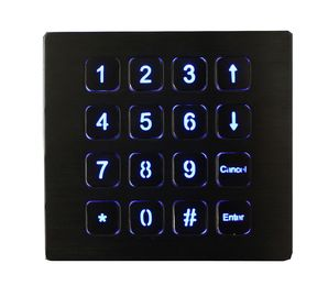 China 16 Keys IP67 Top Panel Mount Backlit Usb Numeric Keypads Red Or Blue factory