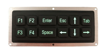 China black 12 keys silicone industrial keypad with green backit USB interface factory