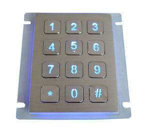 Waterproof SS Backlit Metal Keypad Industrial / 16 Button Keypad For Outdoor
