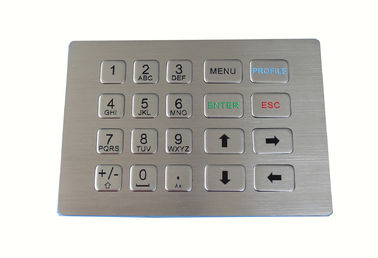 20 Keys Matrix Metal Keypad , Vandal Resistant Panel Mount Keypad For Kiosk