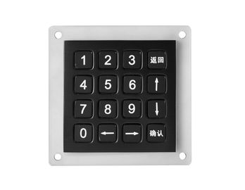 Stainless steel industrial keypad 16 keys compact format IP67 black vandal proof