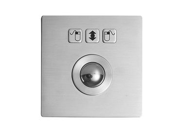 Waterproof IP67 Stainless Steel Trackball Top Panel Mounting With 3 Mouse Buttons
