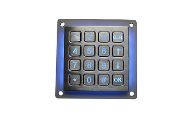 Stainless Steel Metal Keypad Industrial Dot Matrix Numeric Key 16 Buttons With Backlit