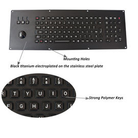 China Industrial Keyboard With Trackball Backlight Black Metal Panel Mount factory