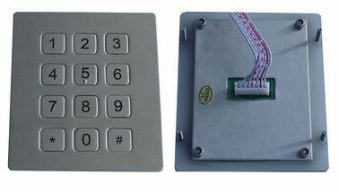 IP65 dot matrix metal 12 keys vandal resistant phone numeric keypad for industrial