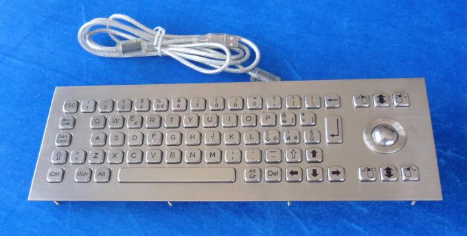 IP65 dustproof long stroke industrial metal keyboard with 2 mouse buttons trackball