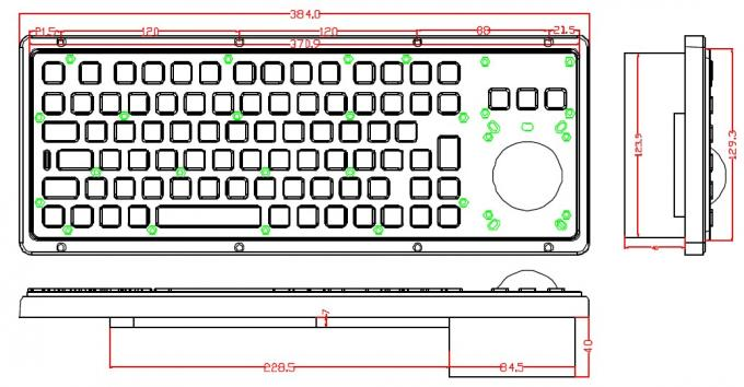 USB 85 Keys Panel Mount Keyboard