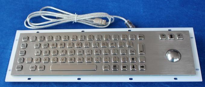 Vandal Proof SS Industrial Keyboard With Trackball , flat key keyboard with 69 Key