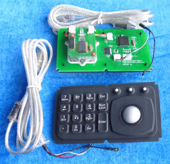 Mini 15 key panel mount keyboard with trackball for medical , diagnostic equipment