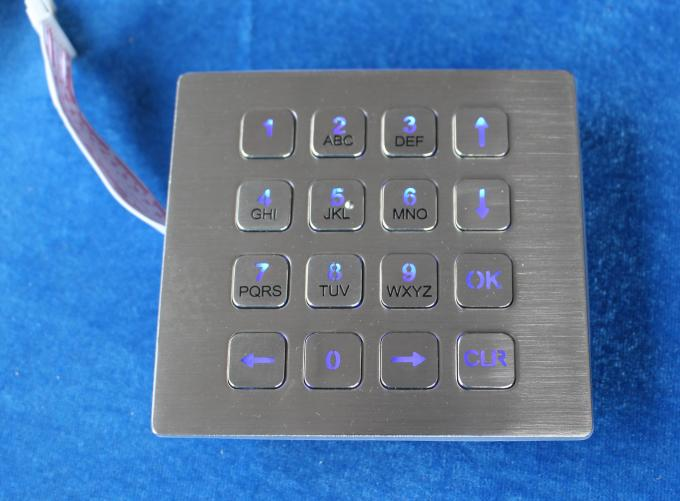 16 Keys IP67 Top Panel Mount Backlit Usb Numeric Keypads Red Or Blue