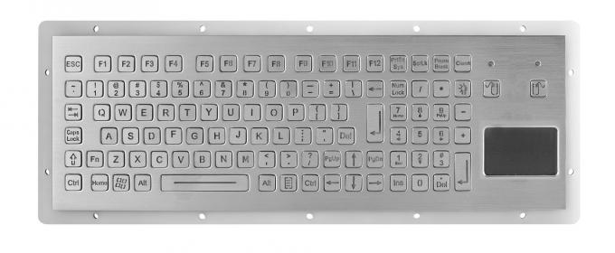 Panel Mount Metal Mechanical Keyboard Stainless Steel Kiosk With Integrated Touchpad