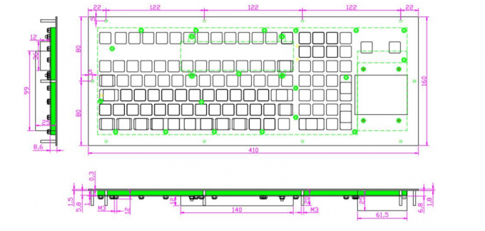 IP67 Industrial Membrane Keyboard with OMRON Switch 108 Keys Scratch-Proof